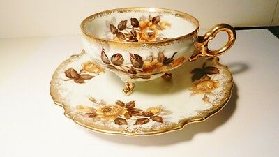 Original Napco China~Hand Painted~Gilded Brown Roses 3-Legged Cup/Saucer~IDD153