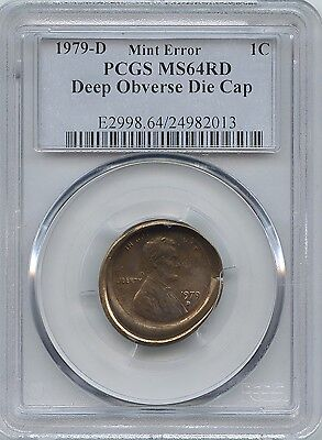 1979-D 1¢ Obverse Die Cap Pcgs Ms-64 Red
