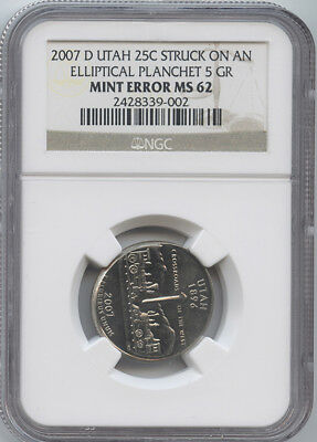 2007-D UTAH STATE 25¢ on ELLIPTICAL PLAN NGC