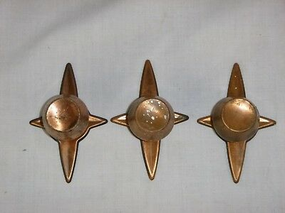 3 Vtg Mid Century Copper Drawer Pulls Knobs w/ Starburst Backplate Cabinet Hdw