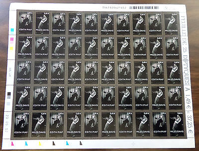 2112 France Us Joint Issue Scarce Full Stamp Sheet Of 50 Piaf & Davis Vf Nh