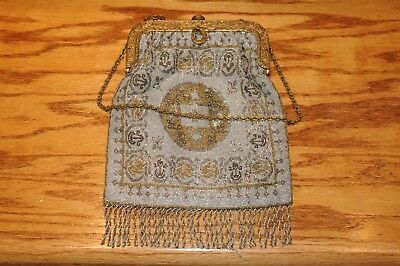 Victorian Micro Bead Stained Glass Art Deco Clutch Evening Bag Purse Antique Old