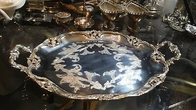 700g STERLING SILVER MUSEUM HANDLE LEG TRAY BORDER EMBOSSING CARVING:PASGORCY HM