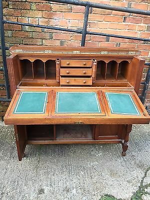 Shoolbred folding Walnut carved Desk with fitted interior