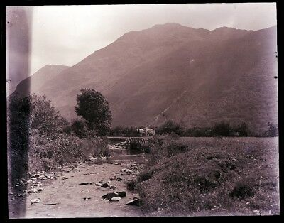 """LATE 1800s, ANTIQUE GLASS NEGATIVE, ENGLAND,  """"BROOK & MOUNTAIN AT BUTTERMERE""""."""