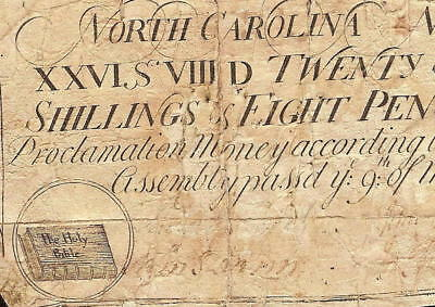 Mar 9, 1754 Holy Bible Note Colonial Currency Old Paper Money North Carolina