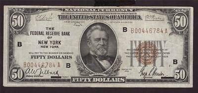 1929 National Currency $50 banknote F1880G B00446784A VF20+ & problem free