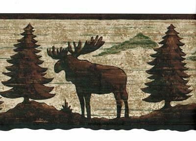 Country Moose Bear Eagle Pinetree Silhouette Wildlife Rustic Wallpaper Border