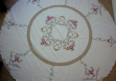 Beautiful Vintage 1970's Round Tablecloth Crocheted Centre 162 Cm Diam   Vgc