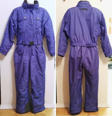 Womens $1500 One Piece FILA SKI SUIT L 12 14 Skisuit Snow Purple Retro Nylon Vtg