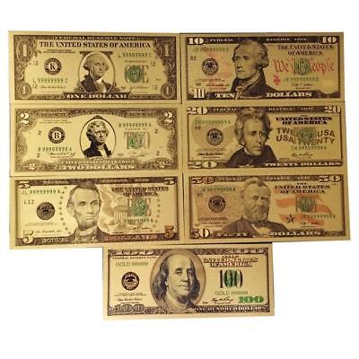 7PCS Gold Dollar Bill Full Set Gold Banknote Colorful USD 1/2/5/10/20/50/100 ㅃ