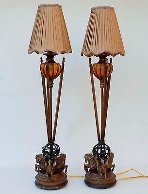 "Pair Leeazanne Banquet Table Lamps & Shades Antique Style 39"" Tall Electric"