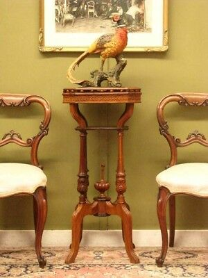 DECORATIVE CARVED 4 LEGGED DISPLAY STAND / SIDE TABLE ~ FINE BRASS INLAY c1990s