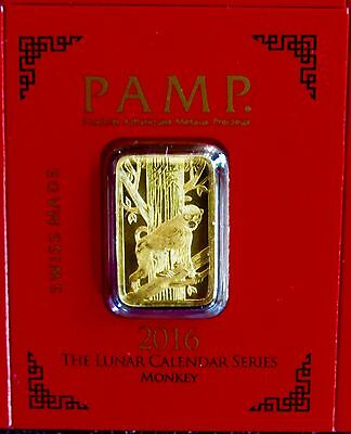 1 Gram Gold Bar - Pamp Suisse Lunar Monkey From Multigram+8 (In Assay)
