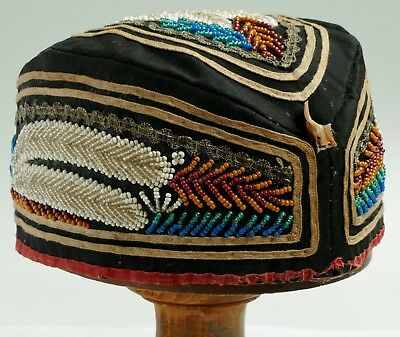 ANTIQUE NATIVE AMERICAN BEADED / BEADWORK HAT / GLENGARRY c 1880 - 1900 IROQUOIS