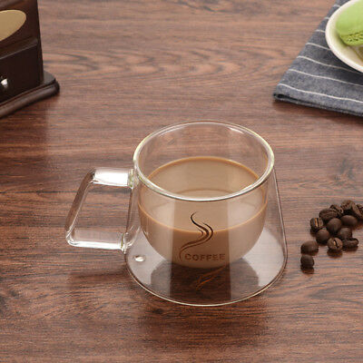 Heat-resistant Double Wall Glass Cup Coffee Tea Mugs Transparent Drinkware SH