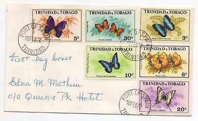 1972 TRINIDAD & TOBAGO First Day Cover BUTTERFLIES (Animals Series)