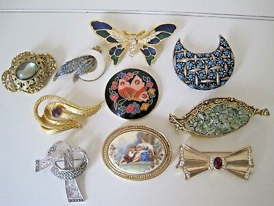 Job Lot Of 10  Vintage & Repro  Brooches Excellent Condition