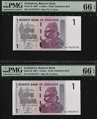 Tt Pk 65 2007 Zimbabwe $1 Pmg 66 Epq Gem Sequentially Numbered Set Of Two Notes!