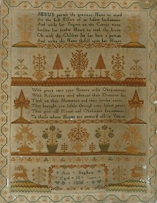 Antique Georgian Sampler 1806 - Ann Bagshaw Aged 10 - Flowers / Trees /stags