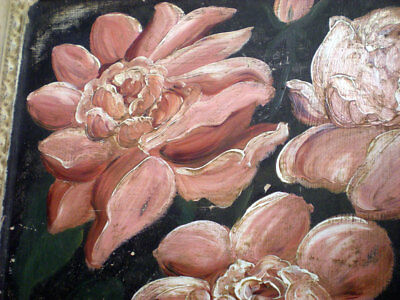 Antique Victorian Ceiling Tin Tile Hand Painted Pink Flowers Cottage Shabby Chic