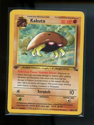 Kabuto 50//62 Mint Pokemon Fossil Set 1st Edition Card