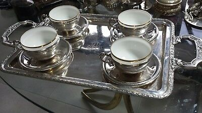 1369g STUNNING SET STERLING SILVER HANDLE TRAY& 4 CUPS GRECA CARVING STYLE