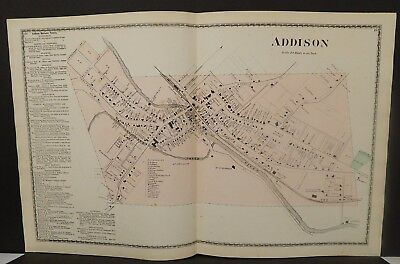 New York Steuben County Map Addison 1873 Double Page J20#88
