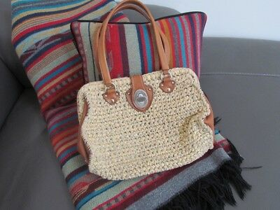 Miu Miu Woven Raffia Straw and Saddle Brown Leather Handbag Excellent  Condition af789960c1b5c
