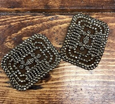 Antique French Victorian Bronze Steel Cut Beads on Leather Shoe Clips