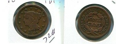 1847 Braided Hair Large Cent Type Coin Vg 7266H
