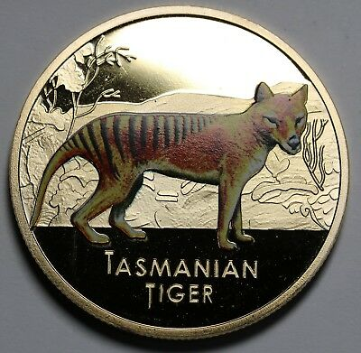2011 Niue Gold Plated Limited Edition Coin / Medal  Prooflike Tasmanian Tiger
