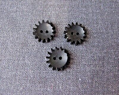 3 Vintage Galalith Steampunk Shaped Interlocking Buttons Craft Jewelry Making #9