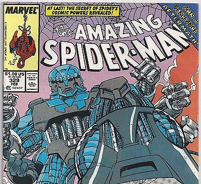 The Amazing Spider-Man #329 vs. TRI-SENTINEL! from Feb. 1990 in VF- condition NS
