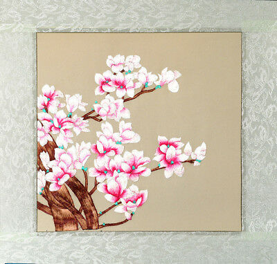 """16"""" Brocaded Chinese Silk Embroidery Painting : Magnolia Represent Friend & Love"""