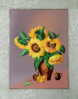 """20"""" Brocaded Classic Silk Embroidery Painting : Sun Flowers"""