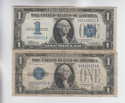 Silver Certificate $1 1928-B & 1934 Funny Backs 2 notes lower grade