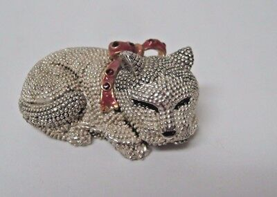 Silverplated sleeping cat HINGED BOX red bow with red stones