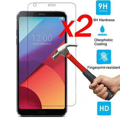 2PCS 100% Genuine Tempered Glass Clear Screen Protector Film For LG G6