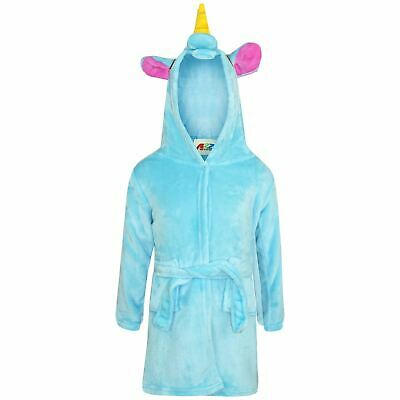 Girls Boys Bathrobe 3D Animal Unicorn Blue Dressing Gown Fleece Night Loungewear