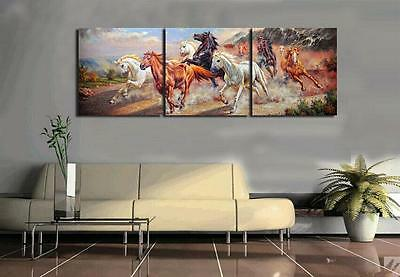 CHOP46 3pcs modern abstract 100% hand-painted oil painting wall art canvas-horse