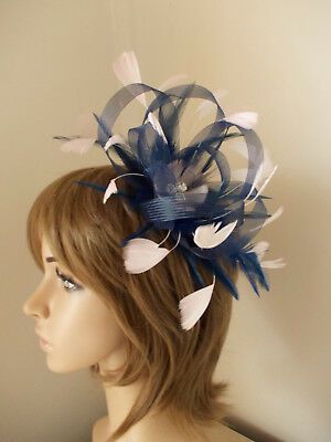 2be5d09bda0 New Navy Blue and Pale Pink Looped fascinator feathers diamante hairband