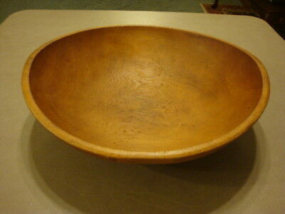 "Vintage Lrg Primitive Wood Wooden DOUGH BOWL 14 1/2"" Long Farmhouse Rustic Decor"