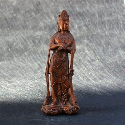 """7.9"""" Old Chinese Antique boxwood sculpture station Guanyin ornaments"""
