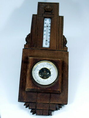 alte WETTERSTATION BAROMETER THERMOMETER Wandbarometer Wandthermometer um 1910