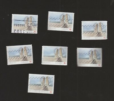 Canada 2017 Battle of Vimy Ridge alll types (7 different) used
