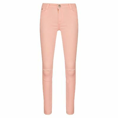 Girls Stretchy Jeans Kids Peach Denim Ripped Pants Frayed Trousers Age 5-13 Year
