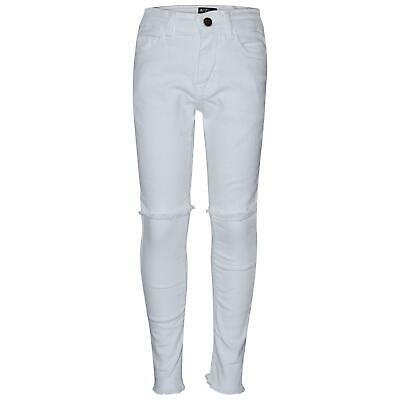 Girls Stretchy Jeans Kids White Denim Ripped Pants Frayed Trousers Age 5-13 Year