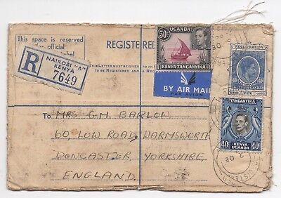 1952 KUT Registered Air Mail Cover NAIROBI KENYA DONCASTER GB Uprated Stationery