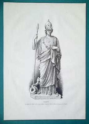 MINERVA Goddess Statue at Chiaramonti Museum in Vatican - 1876 Antique Print